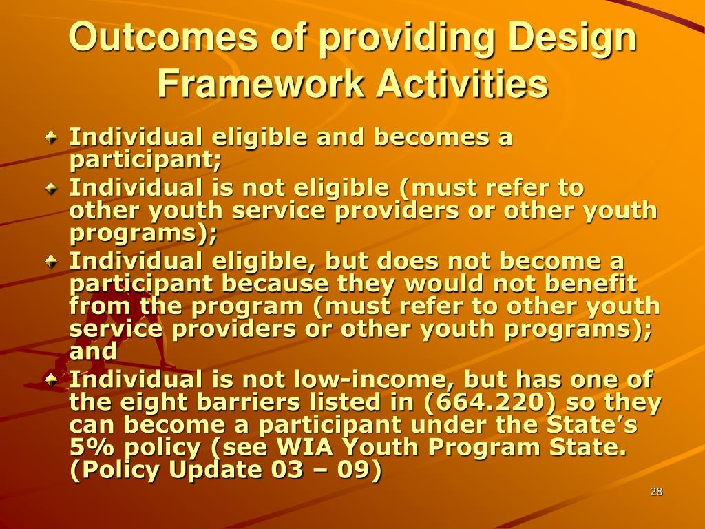 Outcomes of providing Design Framework Activities