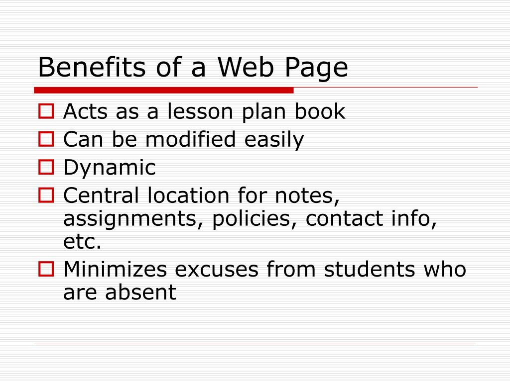 Benefits of a Web Page