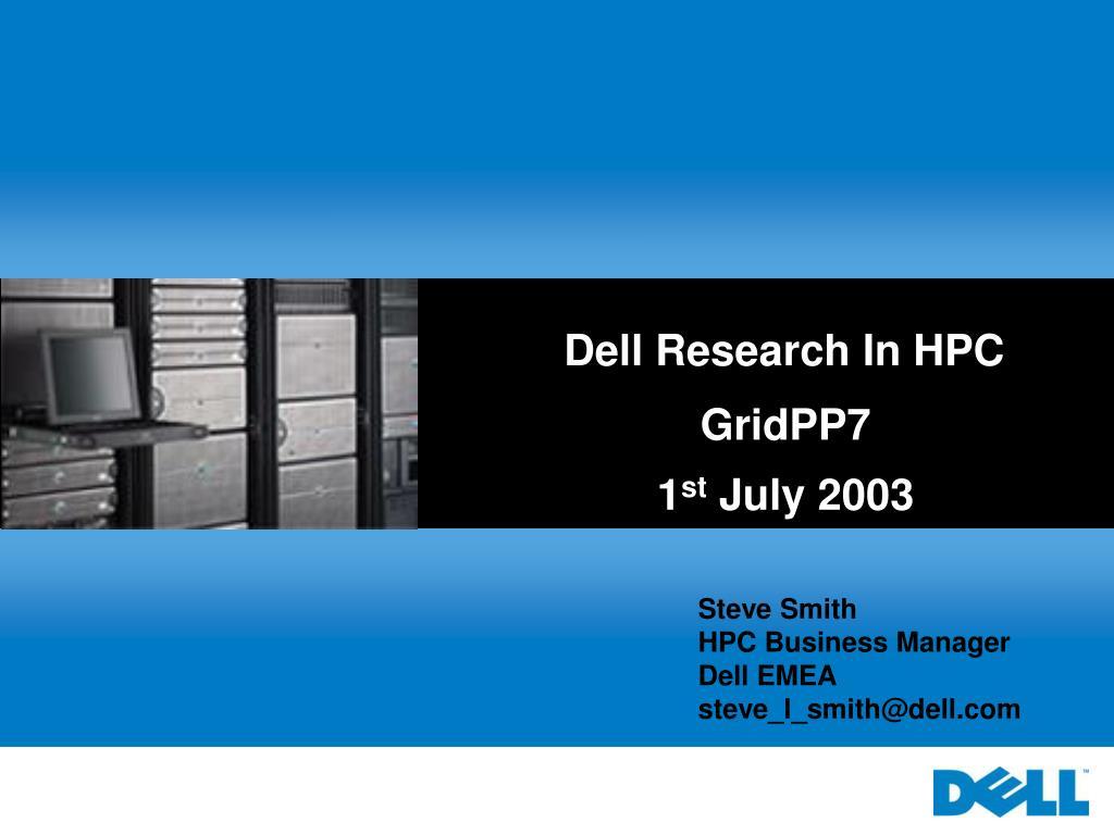Dell Research In HPC