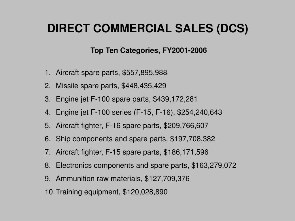 DIRECT COMMERCIAL SALES (DCS)