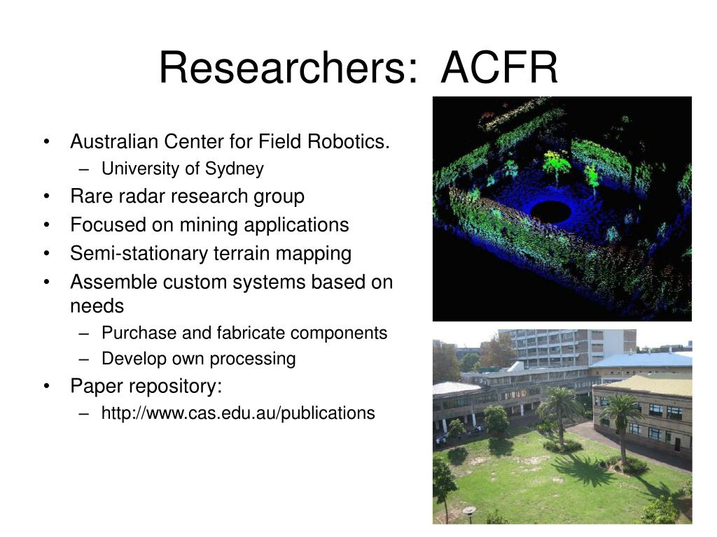 Researchers:  ACFR