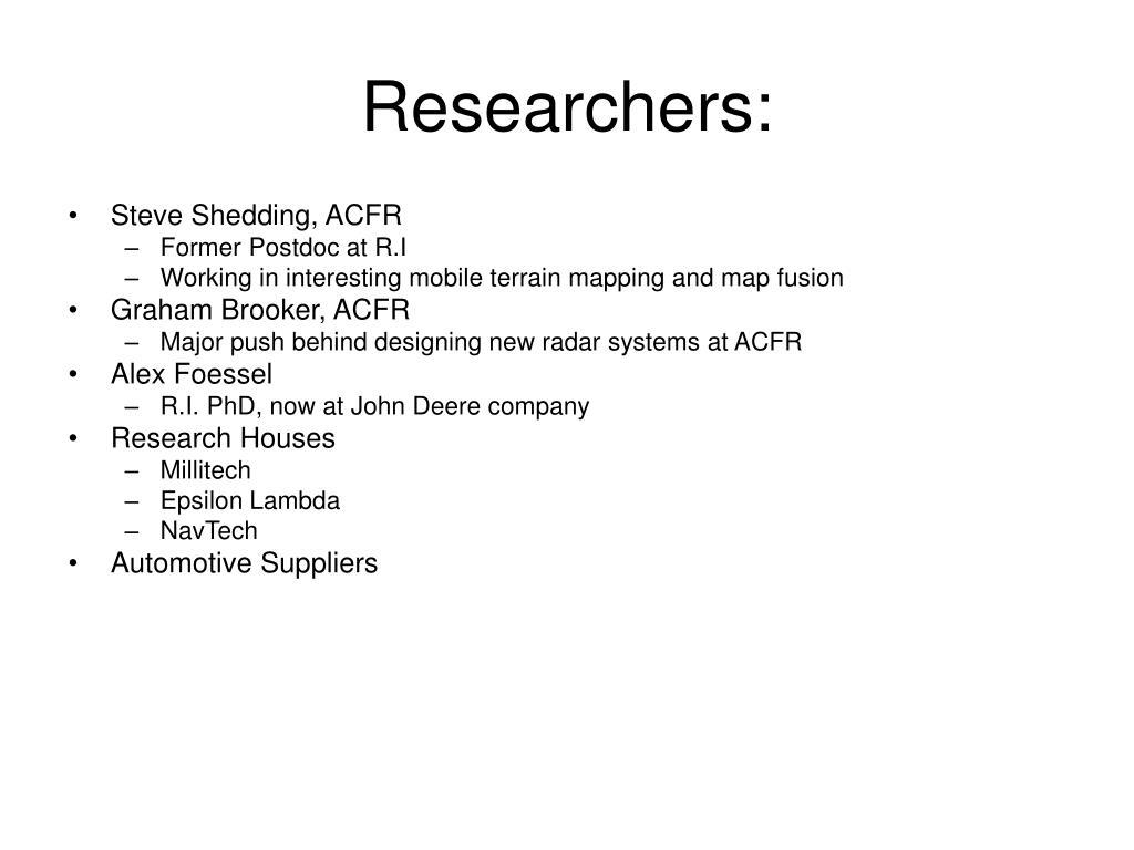 Researchers: