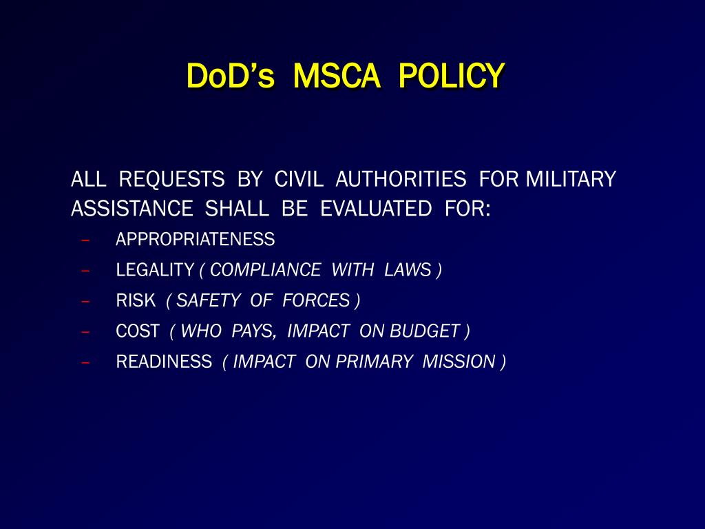 DoD's  MSCA  POLICY