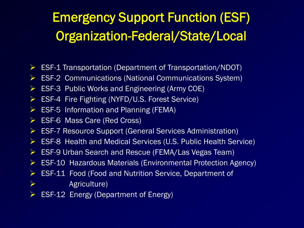 Emergency Support Function (ESF)