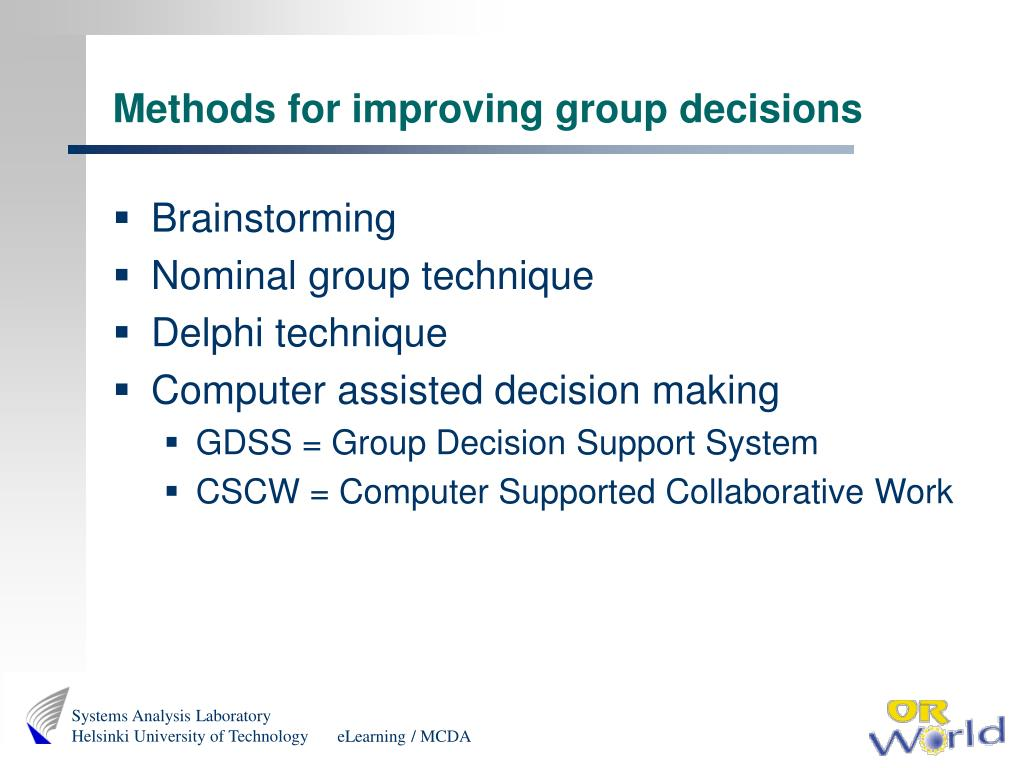 Methods for improving group decisions