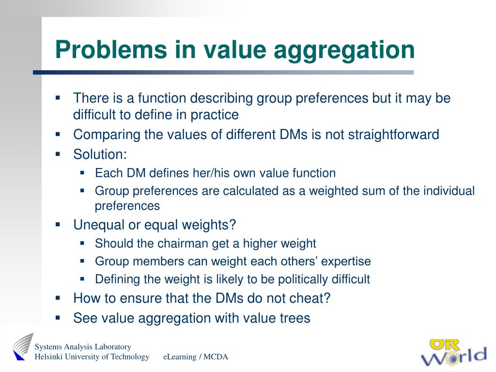 Problems in value aggregation