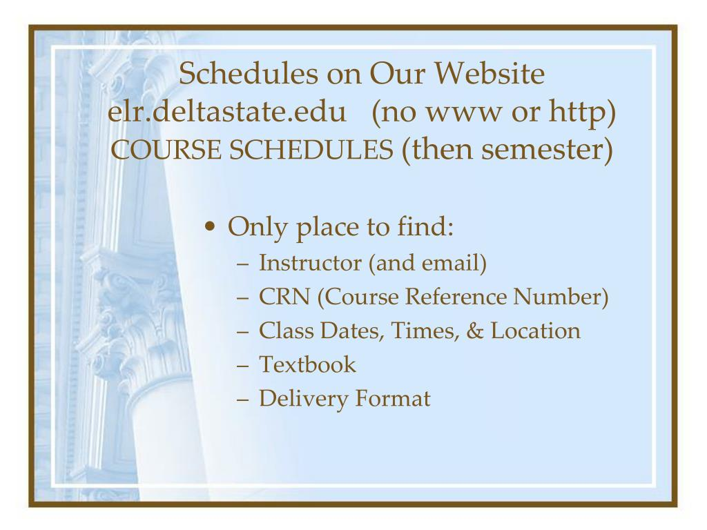 Schedules on Our Website