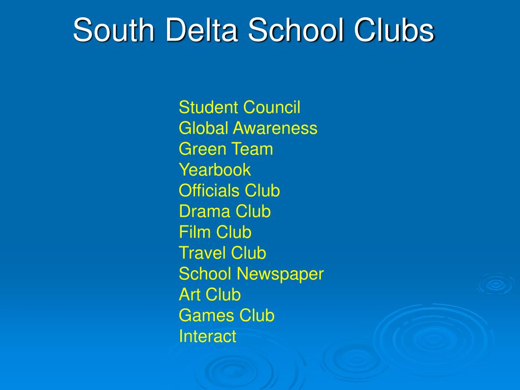 South Delta School Clubs