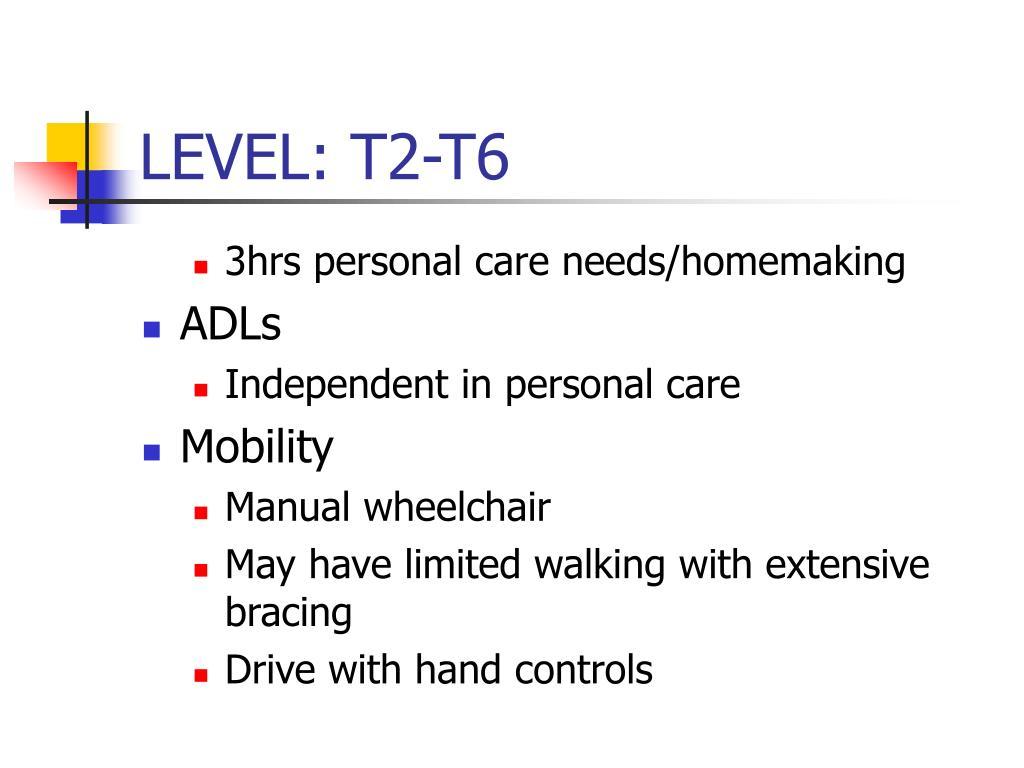 LEVEL: T2-T6