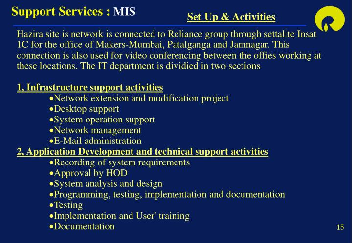 Support Services :