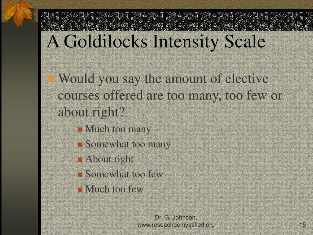 A Goldilocks Intensity Scale