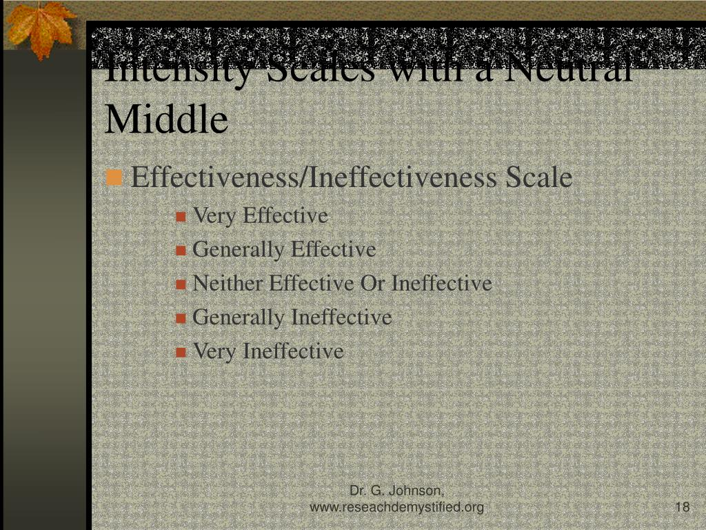 Intensity Scales with a Neutral Middle