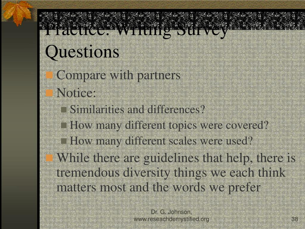 Practice: Writing Survey Questions