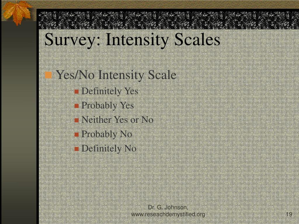 Survey: Intensity Scales