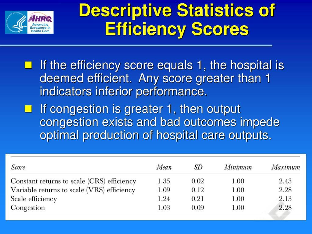 Descriptive Statistics of Efficiency Scores