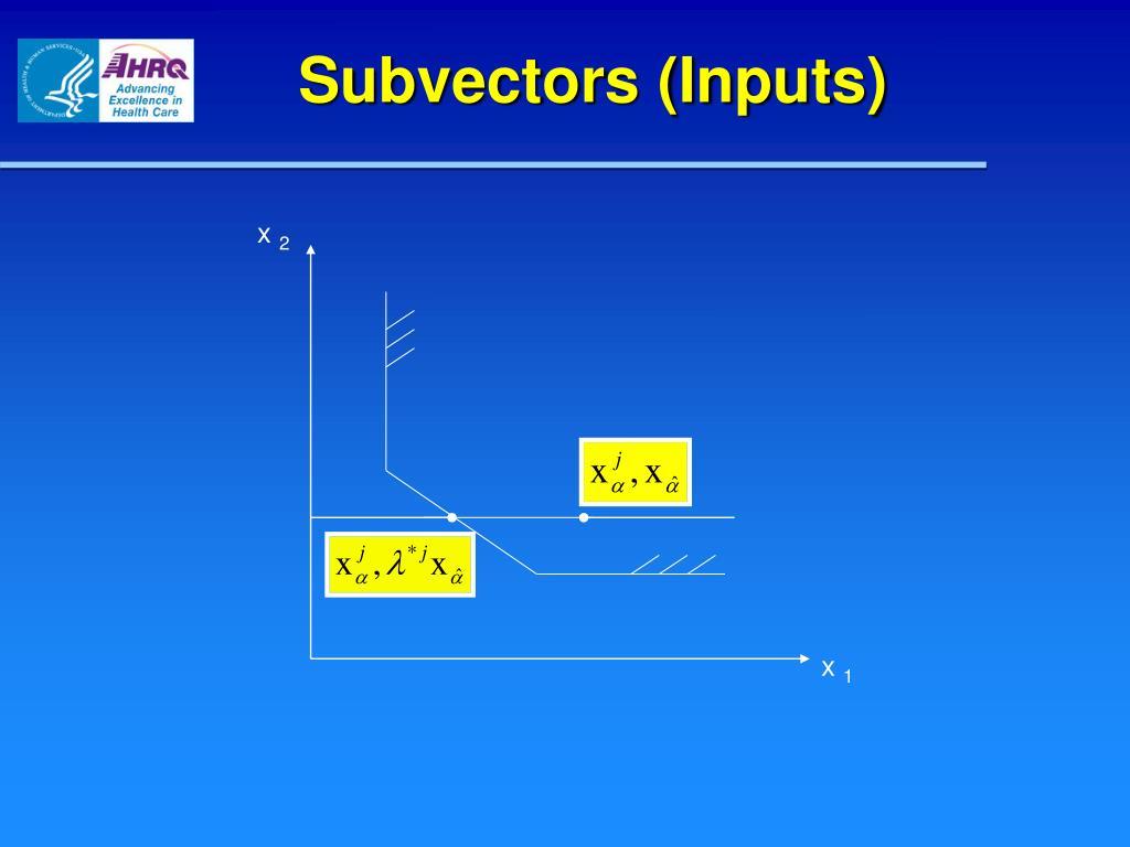 Subvectors (Inputs)