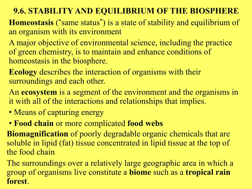 9.6. STABILITY AND EQUILIBRIUM OF THE BIOSPHERE