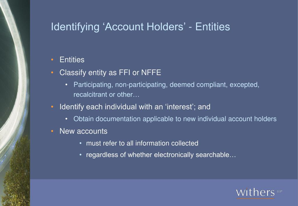 Identifying 'Account Holders' - Entities