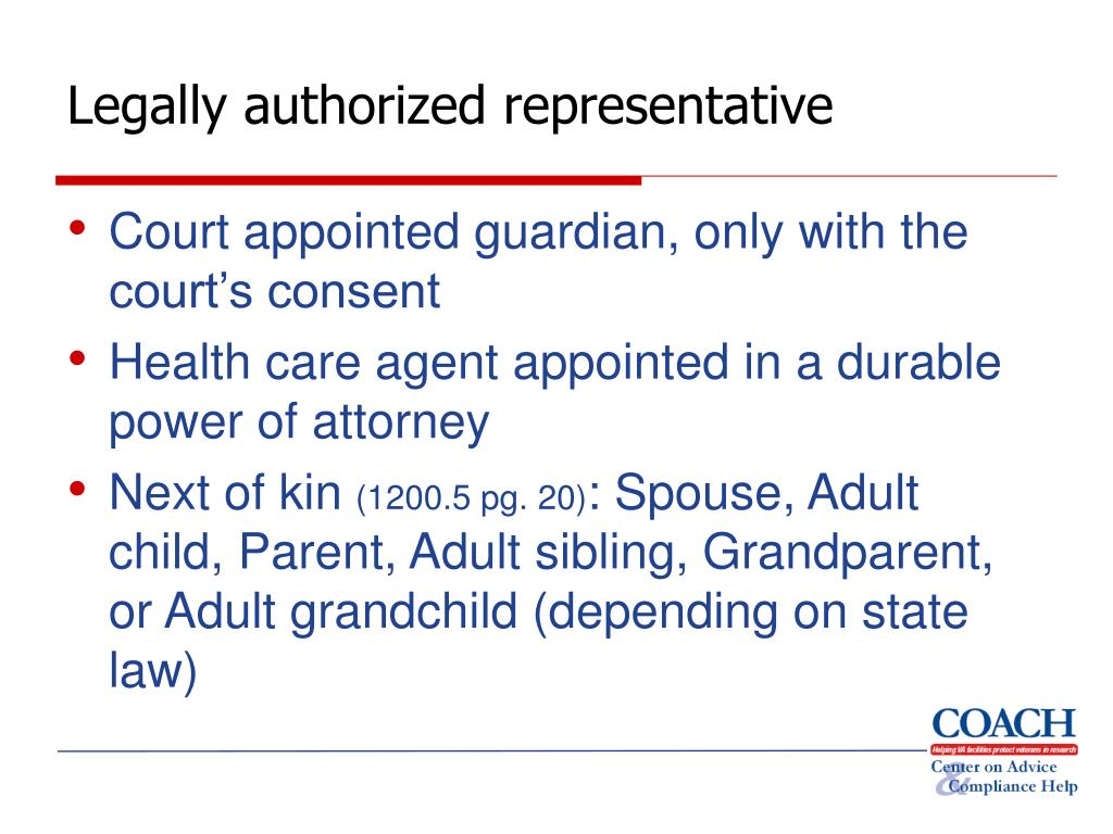 Legally authorized representative