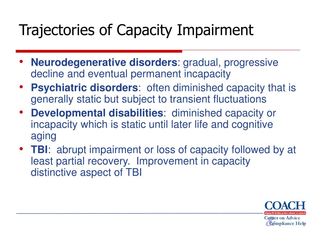 Trajectories of Capacity Impairment