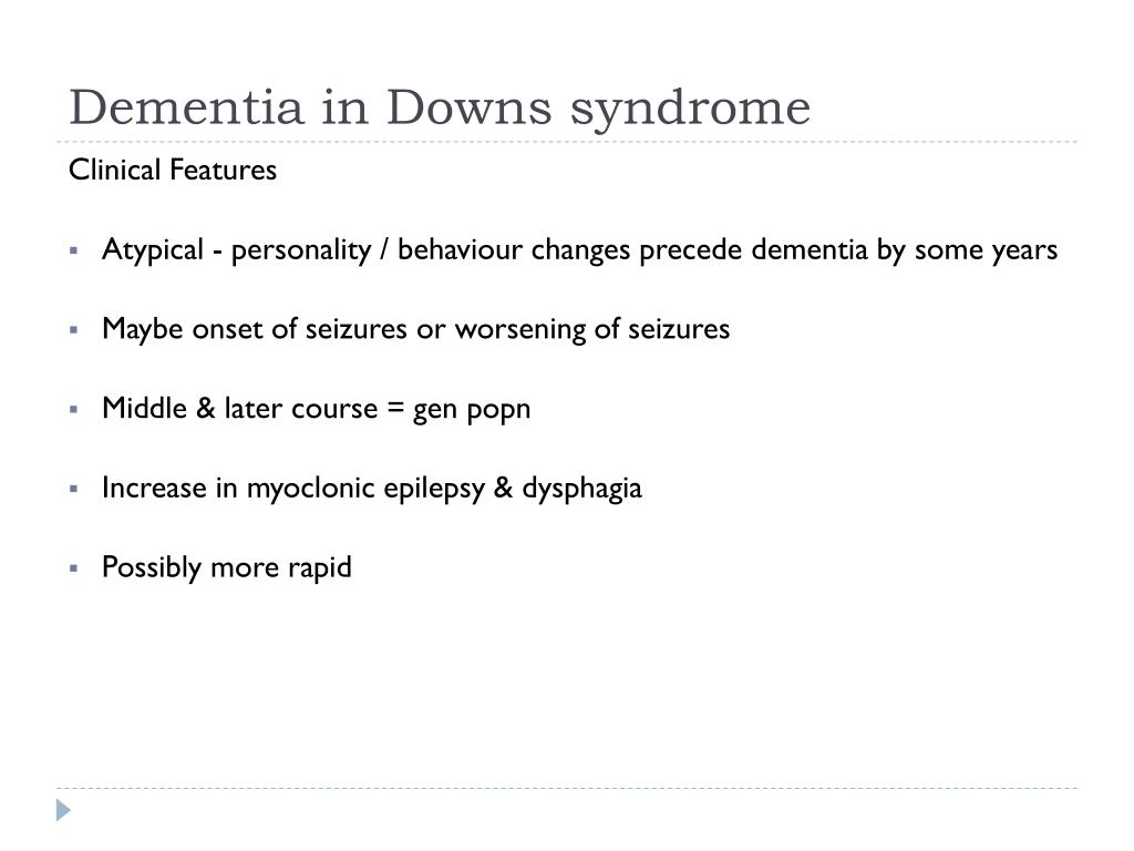 Dementia in Downs syndrome