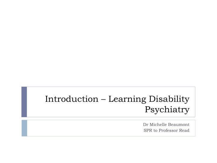 Introduction learning disability psychiatry