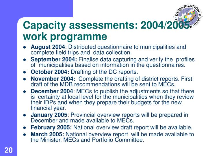 Capacity assessments: 2004/2005 work programme