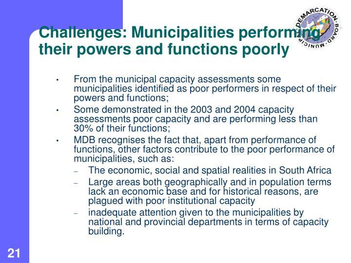 Challenges: Municipalities performing their powers and functions poorly