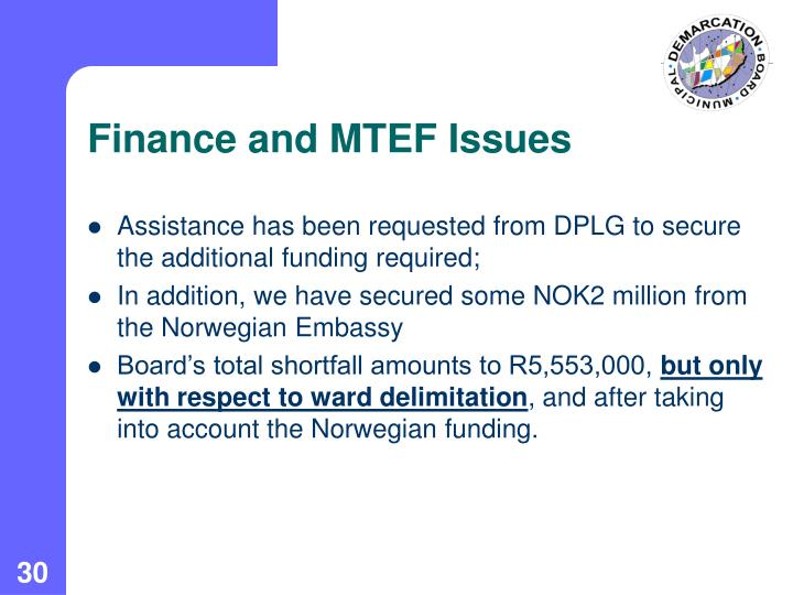 Finance and MTEF Issues