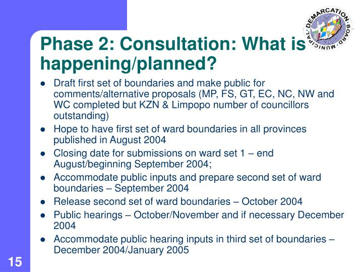 Phase 2: Consultation: What is happening/planned?