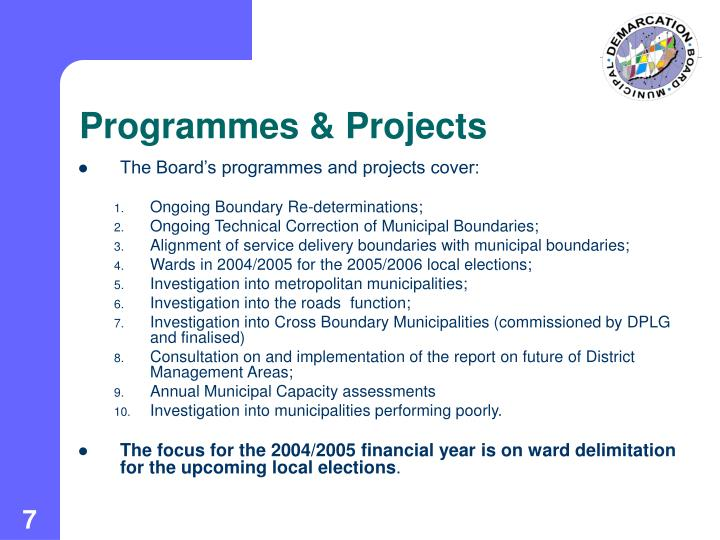 Programmes & Projects
