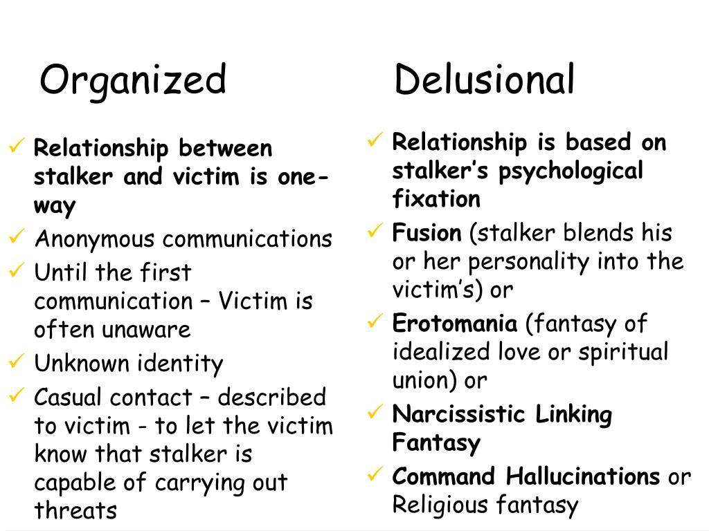 Relationship between stalker and victim is one-way