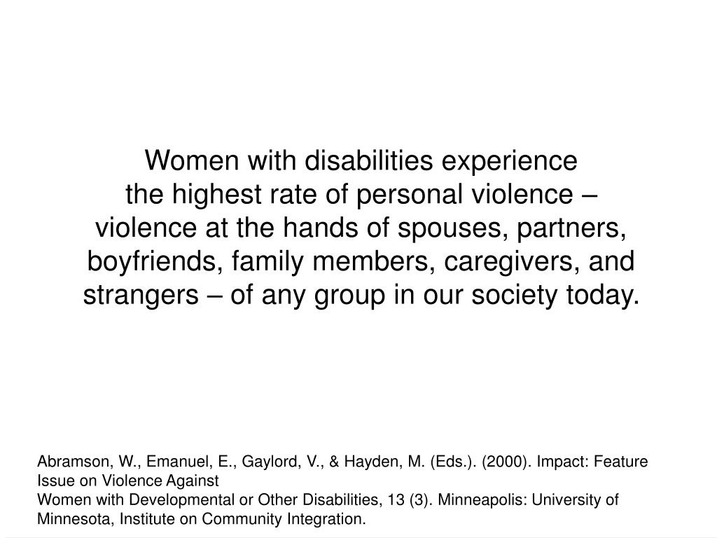Women with disabilities experience