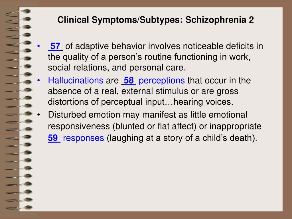 Clinical Symptoms/Subtypes: Schizophrenia 2