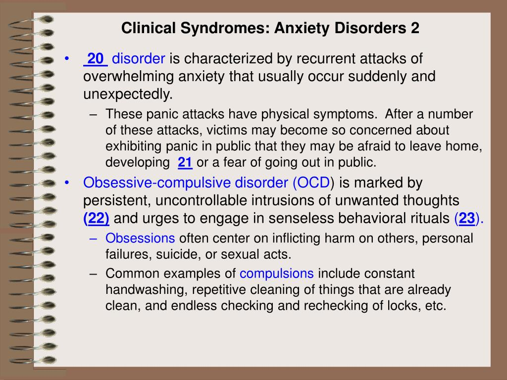 Clinical Syndromes: Anxiety Disorders 2