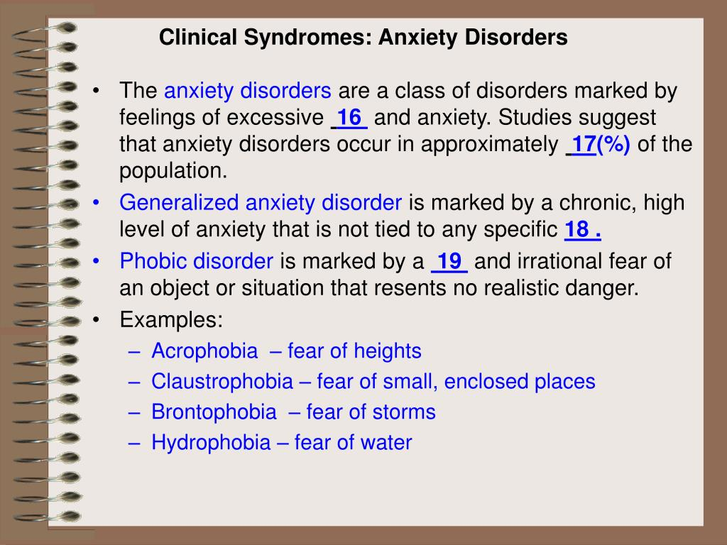 Clinical Syndromes: Anxiety Disorders