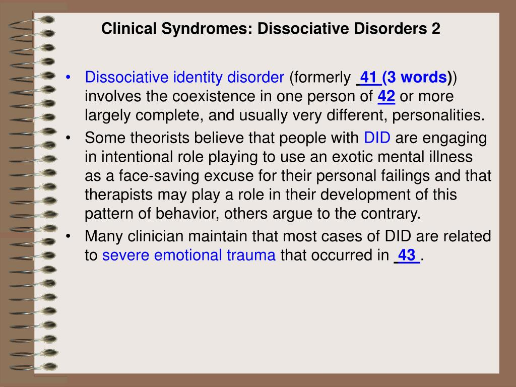 Clinical Syndromes: Dissociative Disorders 2