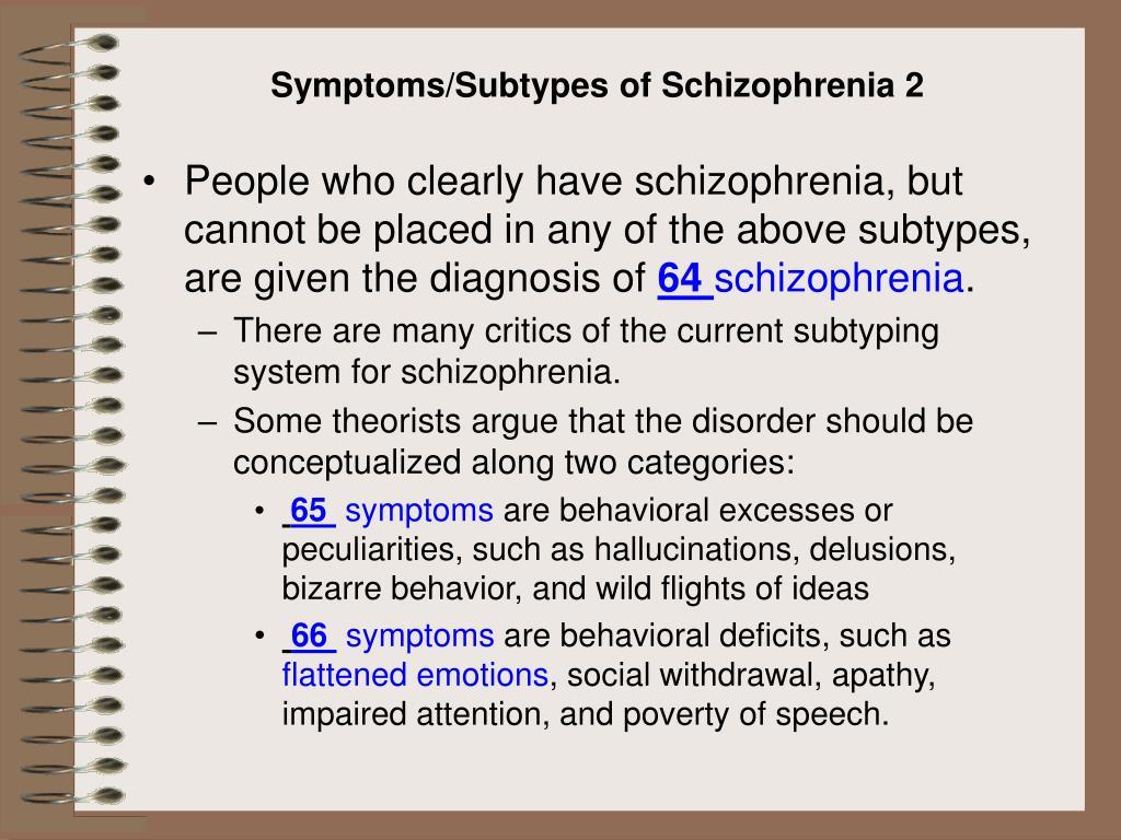 Symptoms/Subtypes of Schizophrenia 2