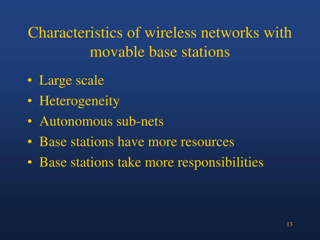 Characteristics of wireless networks with movable base stations