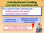 activity based costing cost rate per cost driver unit