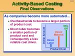 activity based costing final observations
