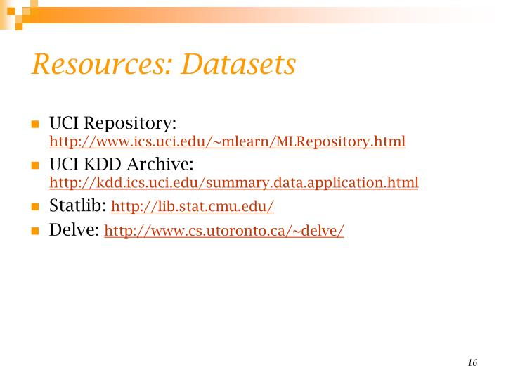 Resources: Datasets