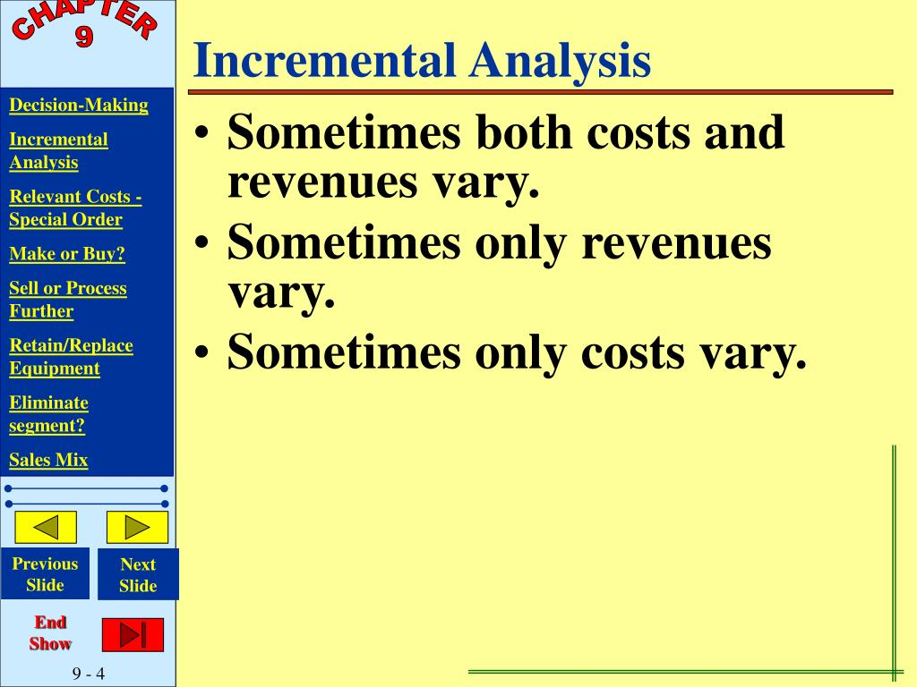 how to prepare an incremental analysis