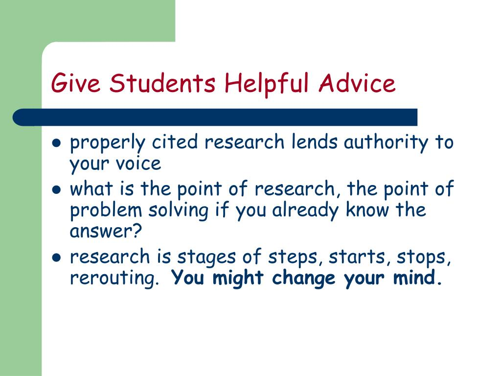 Give Students Helpful Advice
