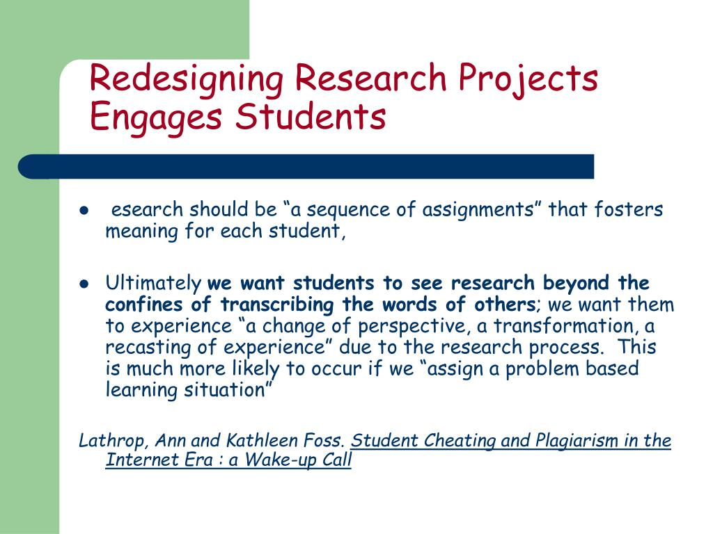 Redesigning Research Projects Engages Students