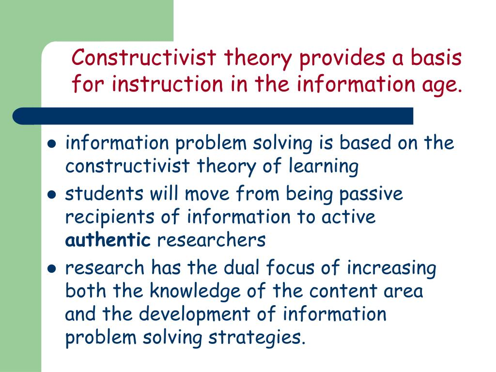Constructivist theory provides a basis for instruction