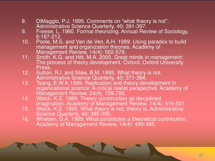 """DiMaggio, P.J. 1995. Comments on """"what theory is not"""". Administrative Science Quarterly, 40: 391-397."""