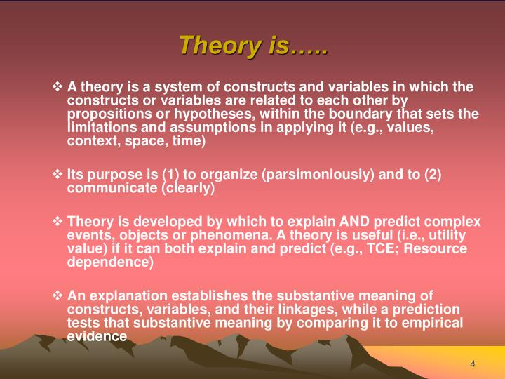 Theory is…..