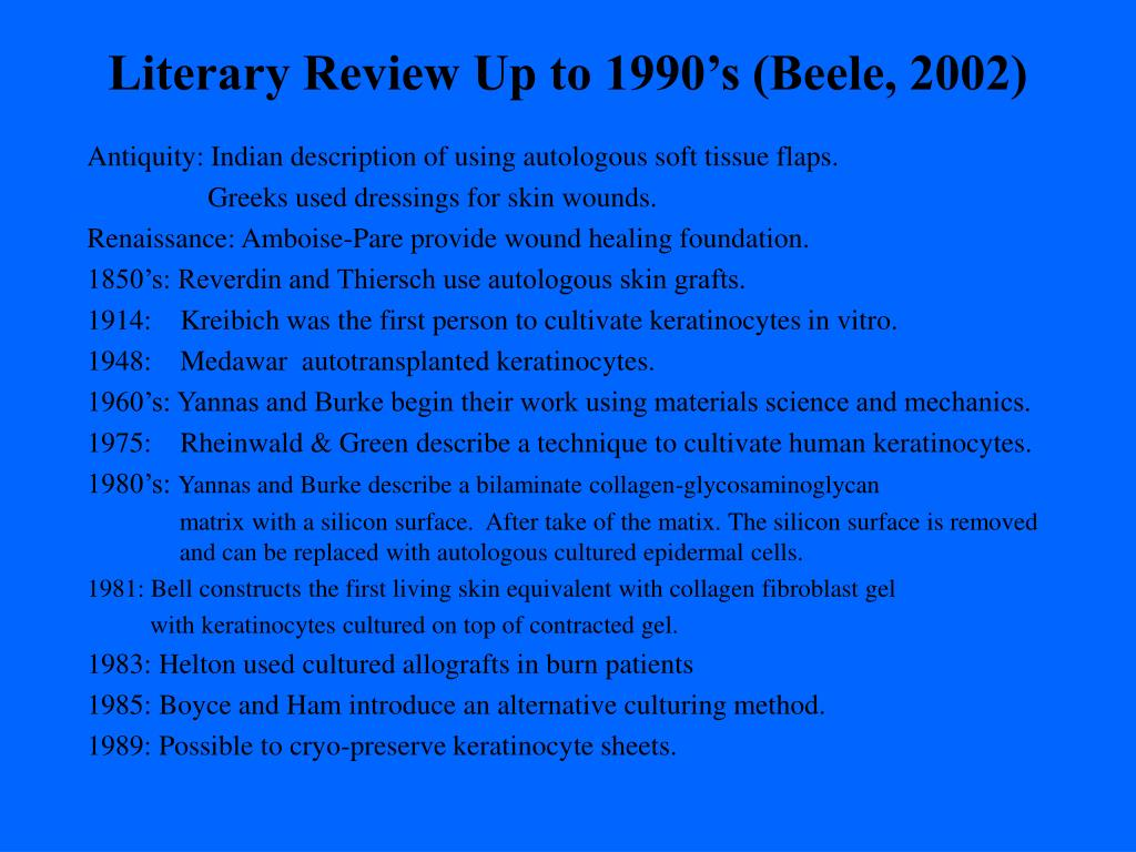 Literary Review Up to 1990's (Beele, 2002)