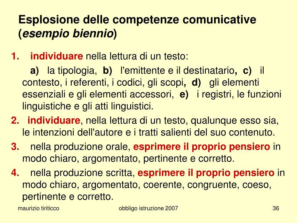 Esplosione delle competenze comunicative
